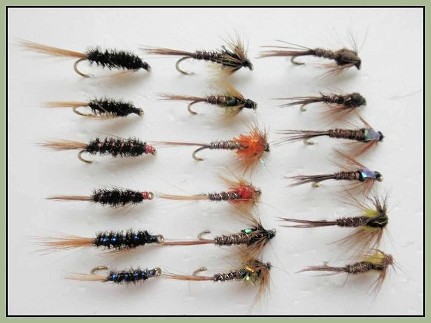Pheasant Tail /& Olives Nymph Fishing Flies mixed 10//12//14 18 Pack Hares Ear