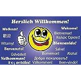 Flagge Fahne Herzlich Willkommen Smiley, ca. 90 x 150 cm