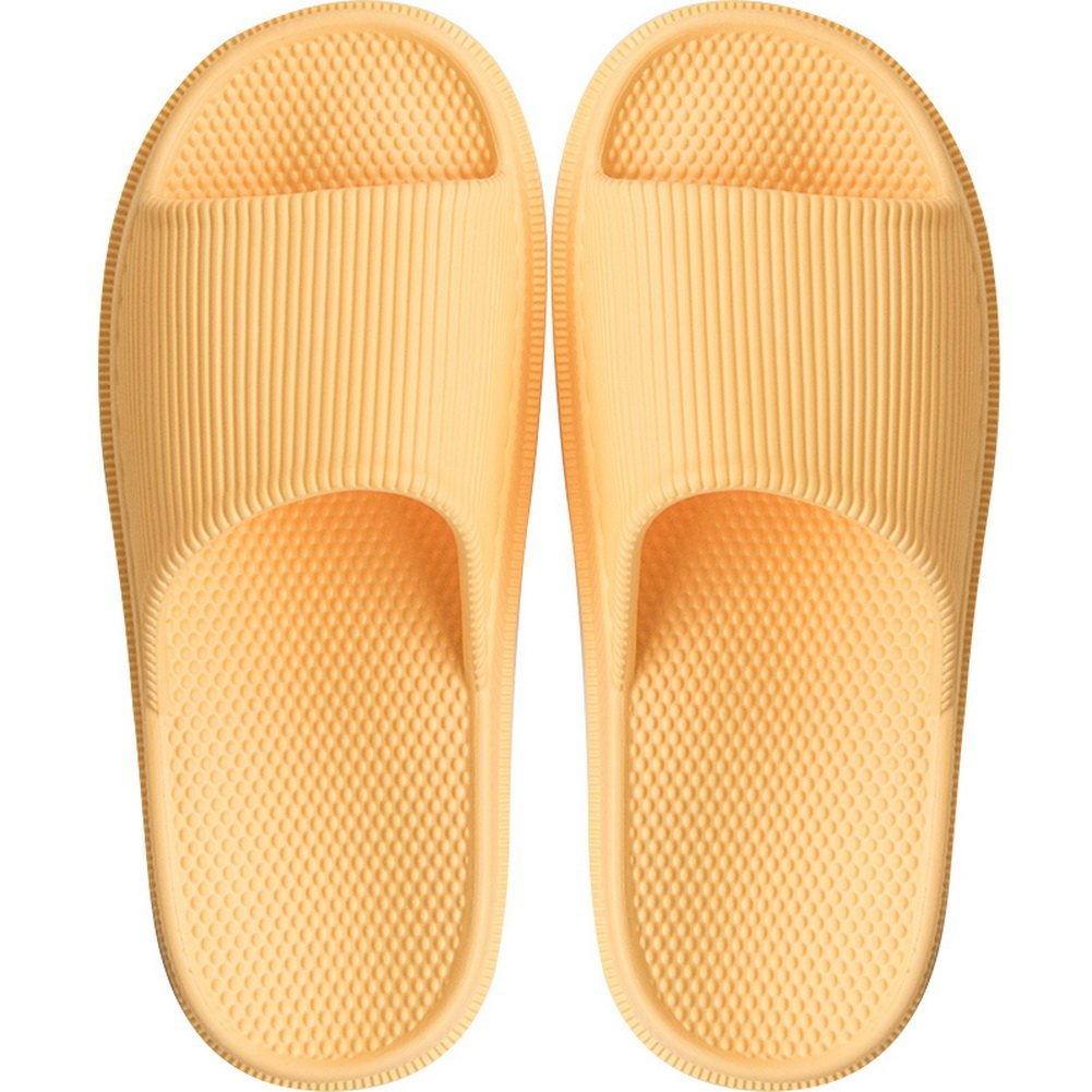 BEALTUY Slippers for Women Men Summer Bathroom Non Slip Shower Sandals House Soft Foams Sole with Foot Massage,FHTX02-Yellow-35-36