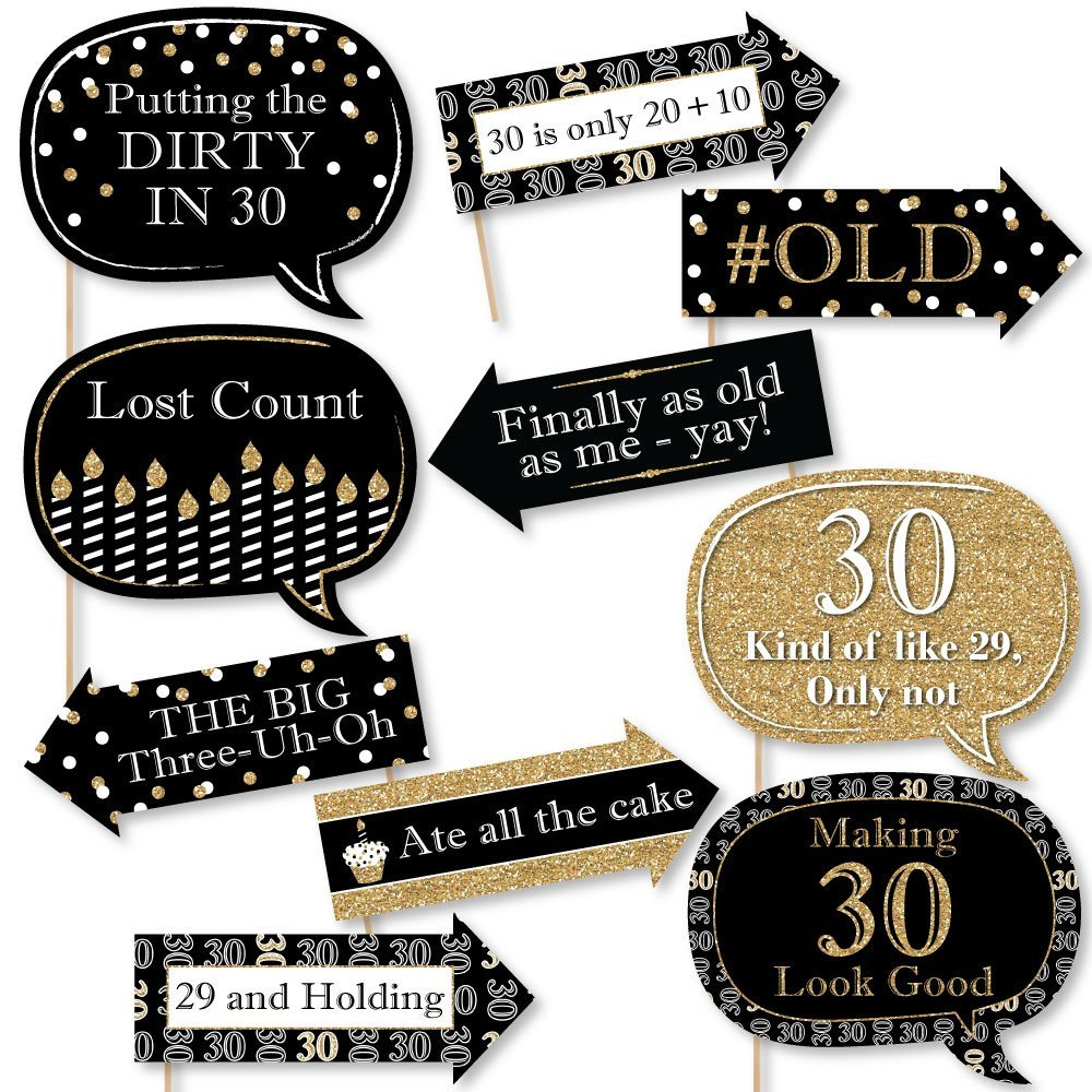 Veewon 30th Birthday Party Photo Booth Props Kit Suitable for Unisex 30th Birthday Celebration DIY Photo Booth 20 Piece