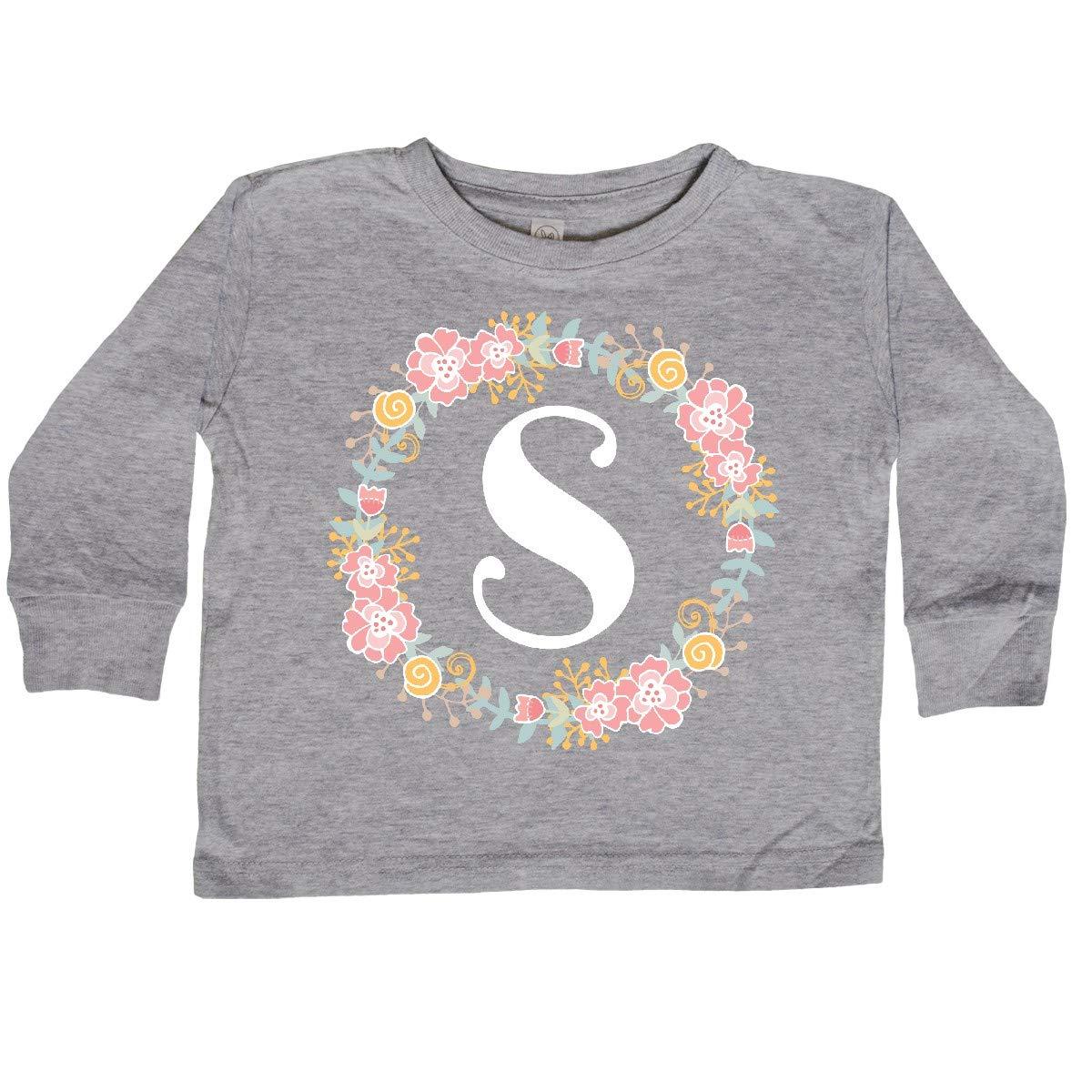 inktastic Monogram Letter S Floral Rose Wreath Toddler Long Sleeve T-Shirt