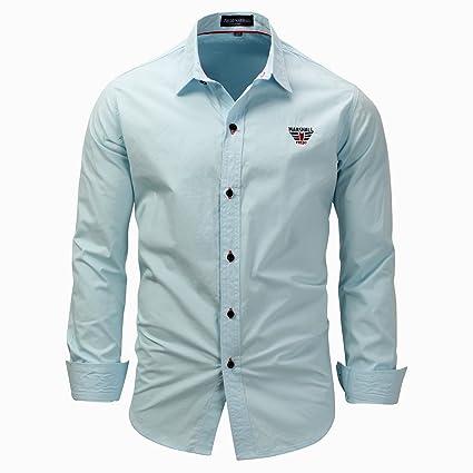 Slim Camisas Color De Vestir Larga Botones Hombres Para Manga Fit Sólido wpgIfq