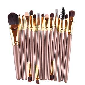 Sunbona 15 pcs Eyeshadow Foundation Powder Eyebrow Lip Brush Makeup Brushes Set (Gold)