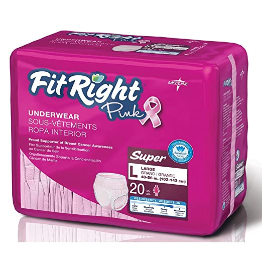 Amazon.com: FitRight Pink Underwear for Women, Large, Pack/20: Health & Personal Care