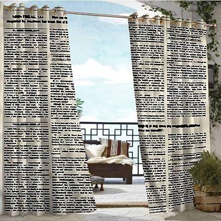 Andrea Sam - Cortina de privacidad para Exteriores para pérgola de periódicos Antiguos, Texto en Columna de artículo para Patio, Bloque de luz Resistente al Calor y al Agua: Amazon.es: Hogar