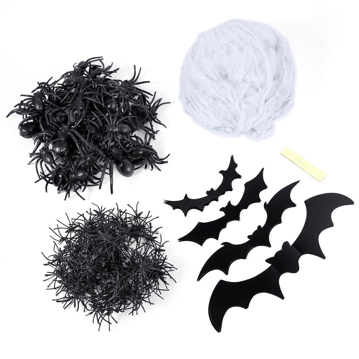 TOYMYTOY TOYMYTOY Halloween White Spider Web Cobweb Decoration Set for Haunted House (100g Cotton Web + 4pcs Large Spiders + 100pcs Small Spiders + 40pcs Medium Spiders + 20pcs Bats)