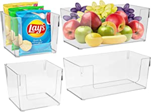 Sorbus Open Plastic Storage Bins Combo Set - Clear Pantry Organizer Box Bin Containers for Organizing Kitchen Fridge, Food, Snack Pantry Cabinet, Fruit, Vegetables, Bathroom, Square & Rectangle Set