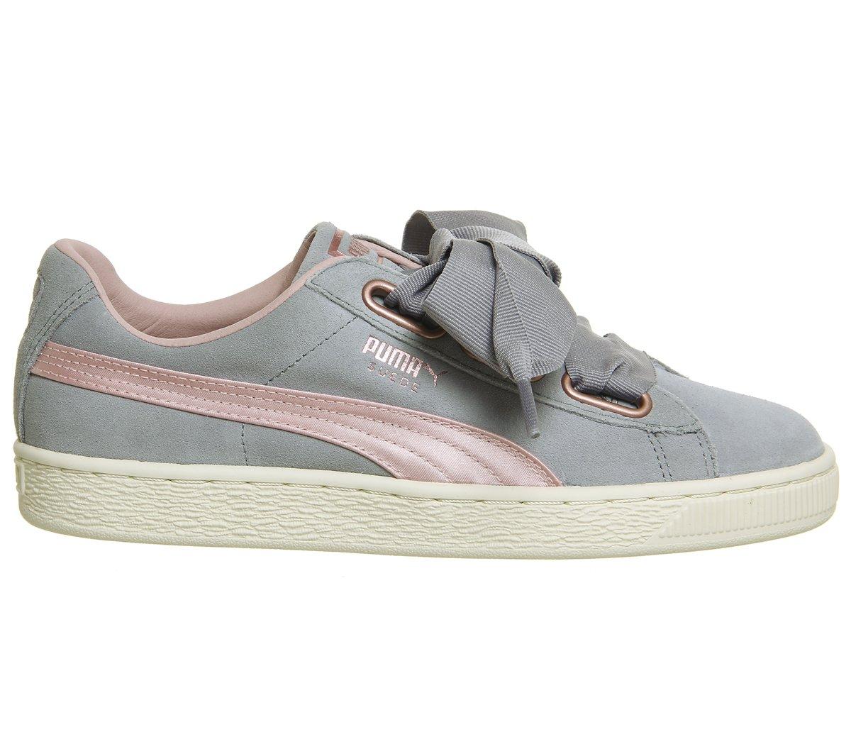 Puma Suede Heart Safari, Zapatillas para Mujer 41 EU Quarry Silver Pink Rose Gold