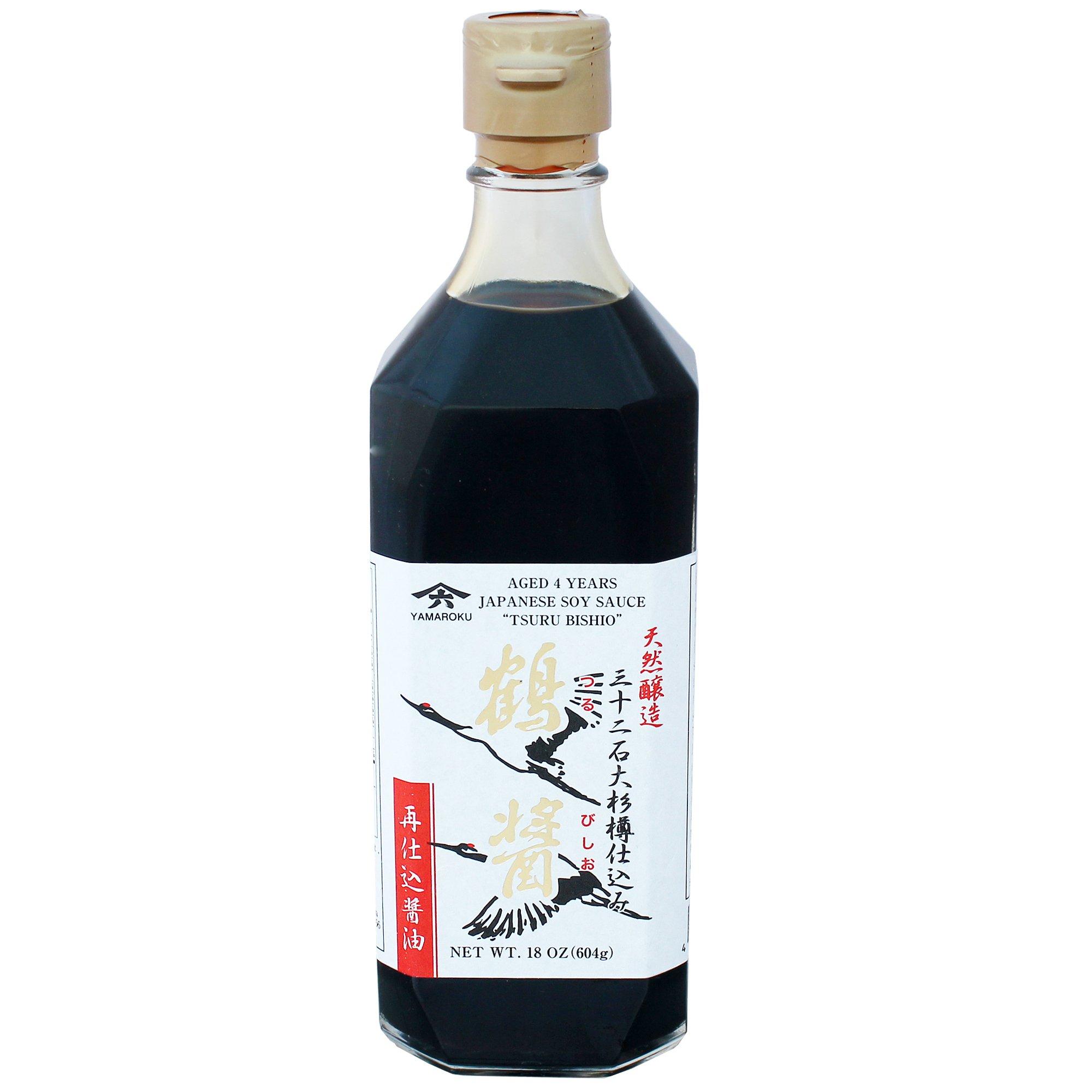 Japanese Yamaroku Aged 4 Years Soy Sauce''Tsuru Bisiho'', 18oz (532ml), Pack of 2 by Yamaroku