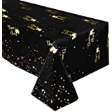 Black and Gold Tablecloth - Disposable Plastic Table Covers for Birthday Baby Shower Graduation Wedding Anniversary…