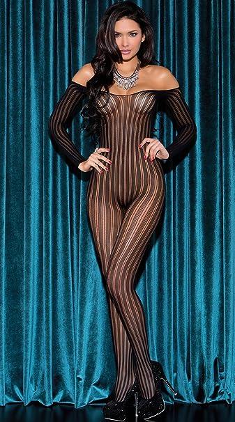 52beaf26dbf Amazon.com  Glitter Long Sleeve Striped Bodystocking