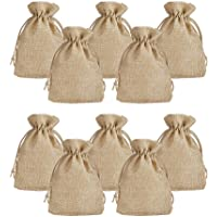 LifeKrafts Jute linen Potlis | Gift Bags for Return Gifts Bags | Pack of 10 | | Size 5 * 7 inches(12.5 * 17.5 cms) | Jute Linen,Burlap | Natural Jute Color|