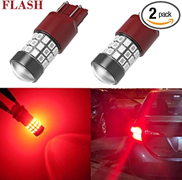 Alla Lighting 7440 7443 LED Strobe Brake Lights Bulbs Super Bright W21W T20 Wedge High Power 2835 SMD 12V Flashing Strobe Stop Lights Replacement for Cars, Trucks, Brilliant Pure Red