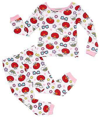 7fdf3b82826e Amazon.com  Sesame Street Girls  Elmo 4-Piece Cotton Pajama Set ...