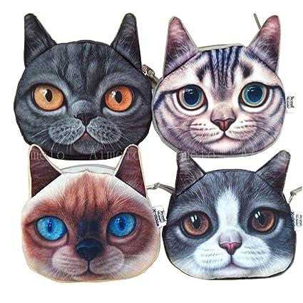 aimeio 2 piezas gato perro de mascota Cara mujer moneda cartera monedero Mini bolsa niños bolsa