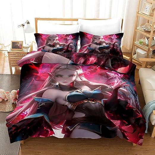 Anime Girl Bedding set Duvet//Quilt Cover Pillowcase Bedroom Cartoon boy girl