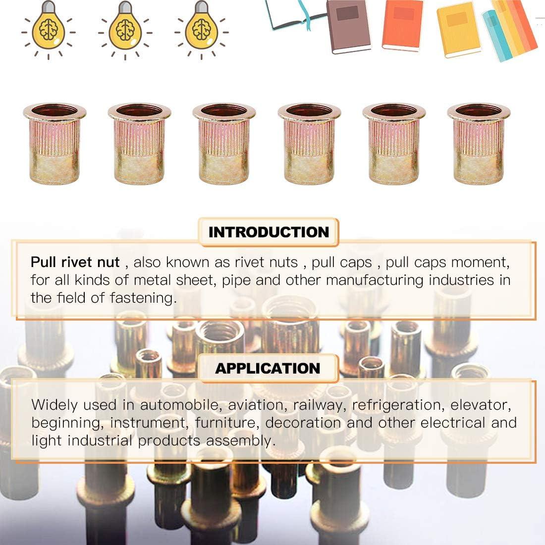 3//8-16 UNC Rivnut 1//4-20 8-32 10-24 5//16-18 5//32-32 Hilitchi 180 Pcs UNC Rivet Nuts Threaded Insert Nut Assortment Kit