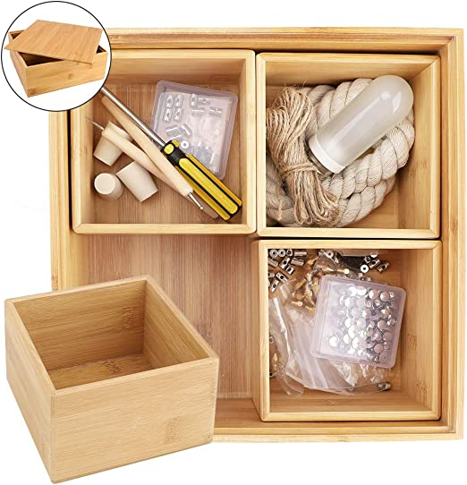 Mebbay Caja de bambú grande con 4 cajas individuales, caja de ...