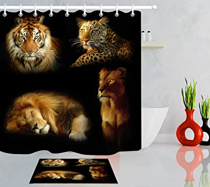 LB Lion Tiger Cheetah Pattern African Wild Animal Print Shower Curtain Bath Rug Set 70x70