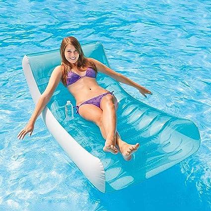 Tumbona hinchable para adultos, salón balancín hinchable en el lado de la piscina, sillón reclinable, asiento de hamaca flotante flotante para piscina para adultos: Amazon.es: Deportes y aire libre