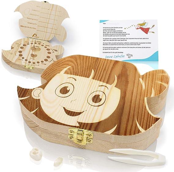 Amazy Caja para dientes de leche (Grande | Niña) Incl. pinza y carta del Hada de los Dientes – Recipiente de madera para dientes de leche: Amazon.es: Bebé