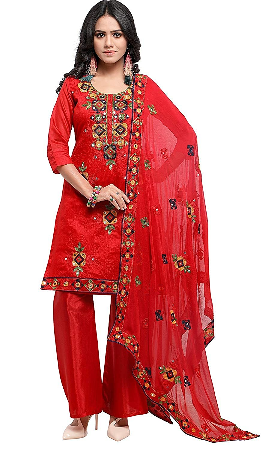 576b77d0a8 Social Star Digital Cotton Holi Special Rajasthani Mirror Work Chanderi  Embroidery Unstitched Salwar Kameez Dress Material Free Size {Red}:  Amazon.in: ...
