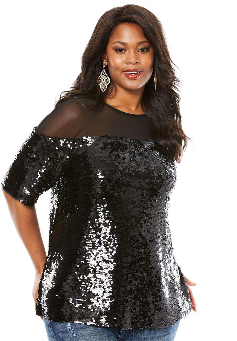Roamans Women's Plus Size Sequin Illusion Boxy Top