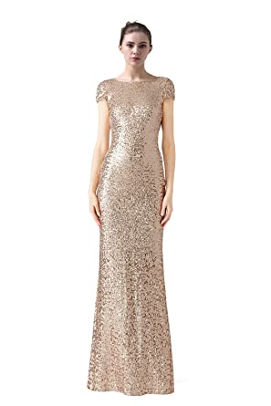 weget Rose Gold Sequin Cap Sleeve Backless Long Prom Dresses For Women 2018 (2)