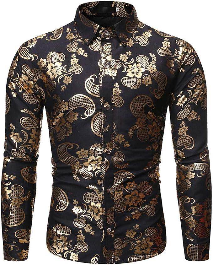 Mens Casual Long Sleeve Shirt Business Slim Fit Shirt Print Blouse Top US