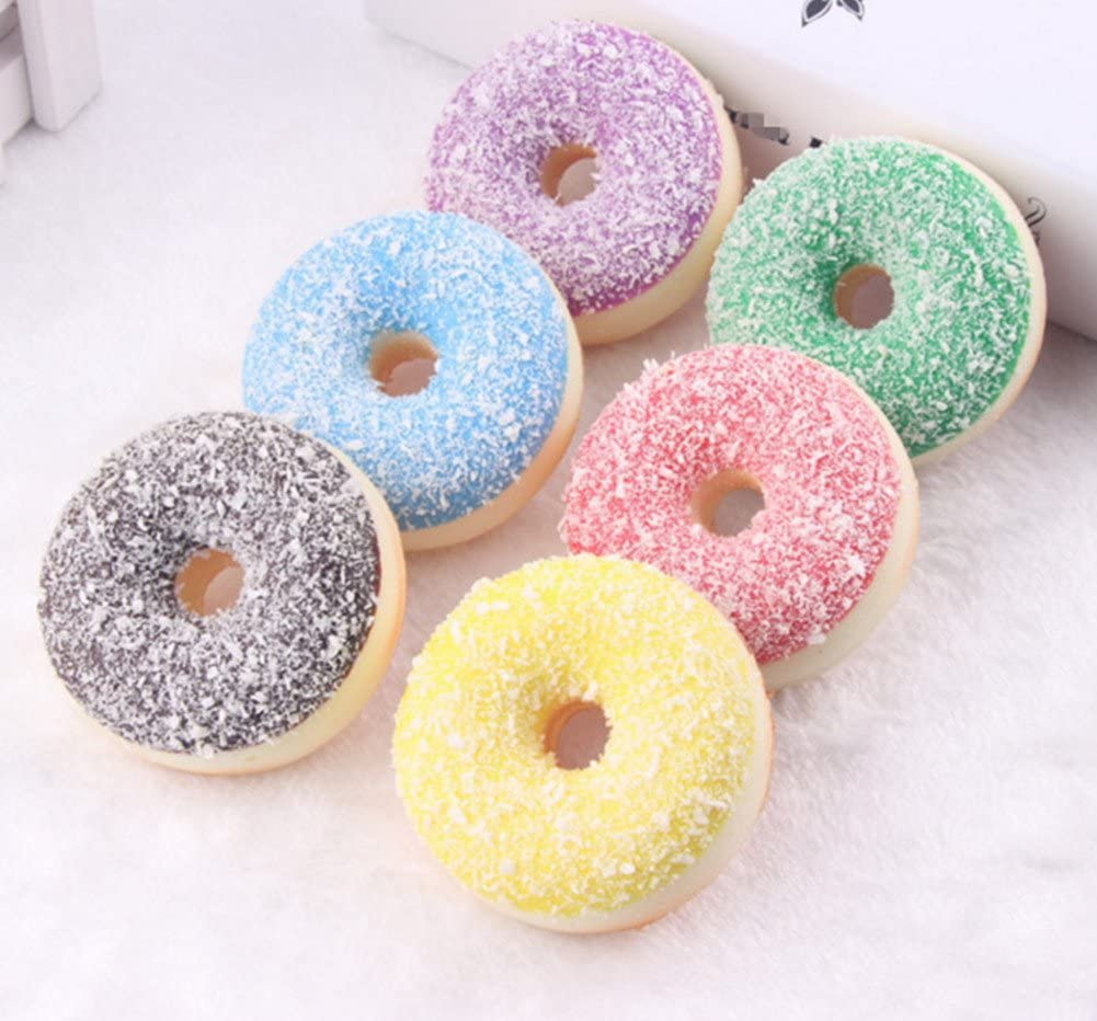 Skyseen 6 PCS Realistic Artificial Donuts Fake Cake Dessert Model Photography Props Home Decoration