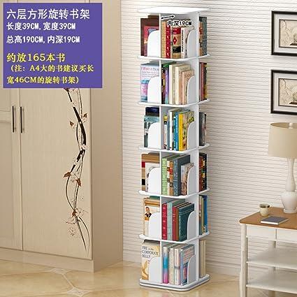 JXBOOS BookshelfCreative Swivel Bookcase 360bookrack Modern Simple Shelf Childrens Corner Table