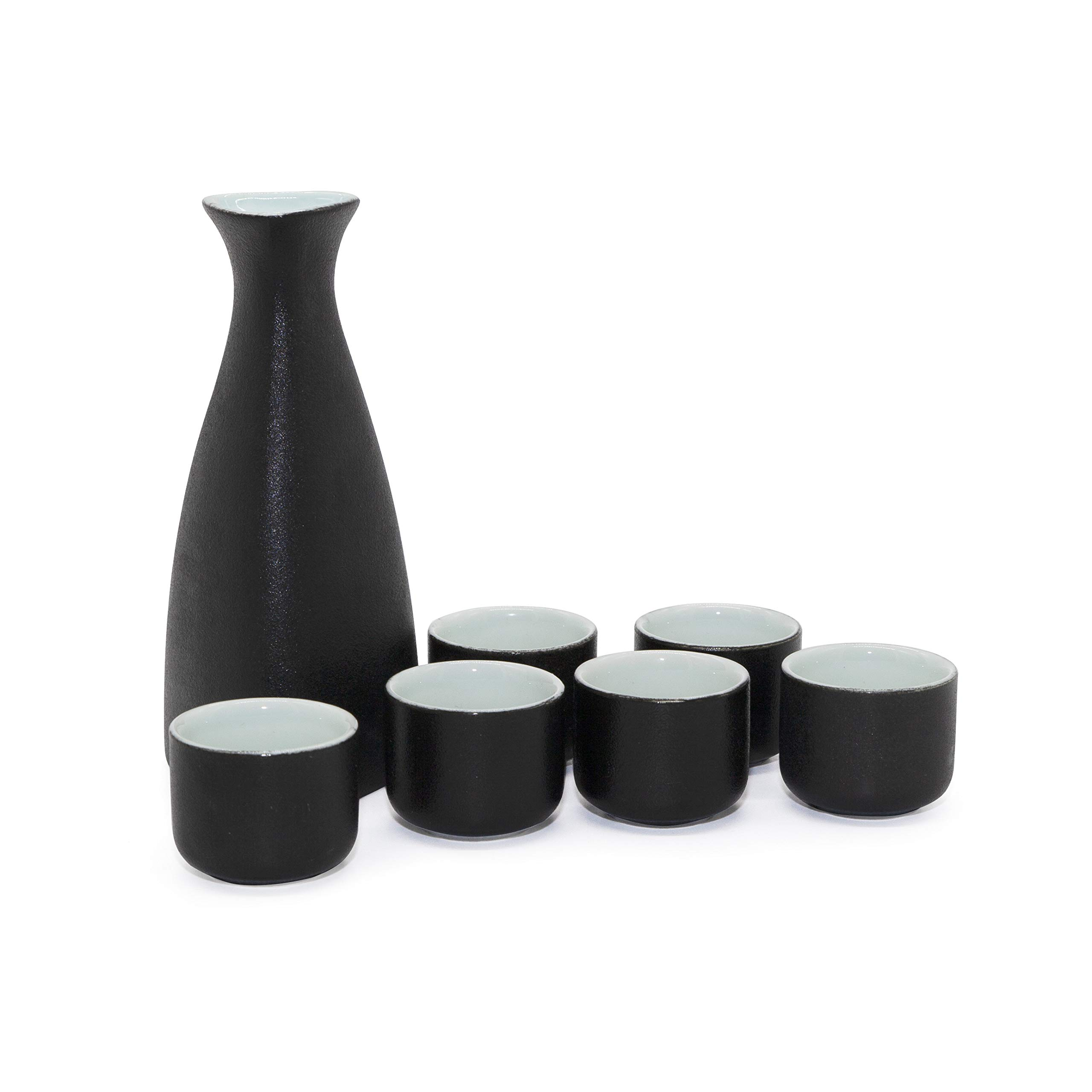 NEWQZ Japanese Sake Set, Traditional Ceramics Black Sake Sets 1 Pot and 6 Cups, with a Gift Box