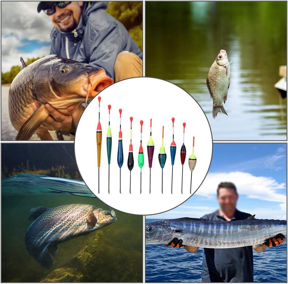 Keenso Galleggianti da Pesca 10 Pezzi Colori Luminosi Galleggianti da Pesca Leggeri Multiuso in Legno Bobber per Accessori per Attrezzatura da Pesca