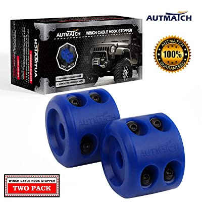 AUTMATCH Winch Cable Hook Stopper (2 Pack) Silicone Rubber Shock Absorbent Winch Stopper Best Winch Accessories for Wire & Synthetic Cables ATV UTV Prevent Pulling Eliminate Abrasion Bouncing Blue: Automotive