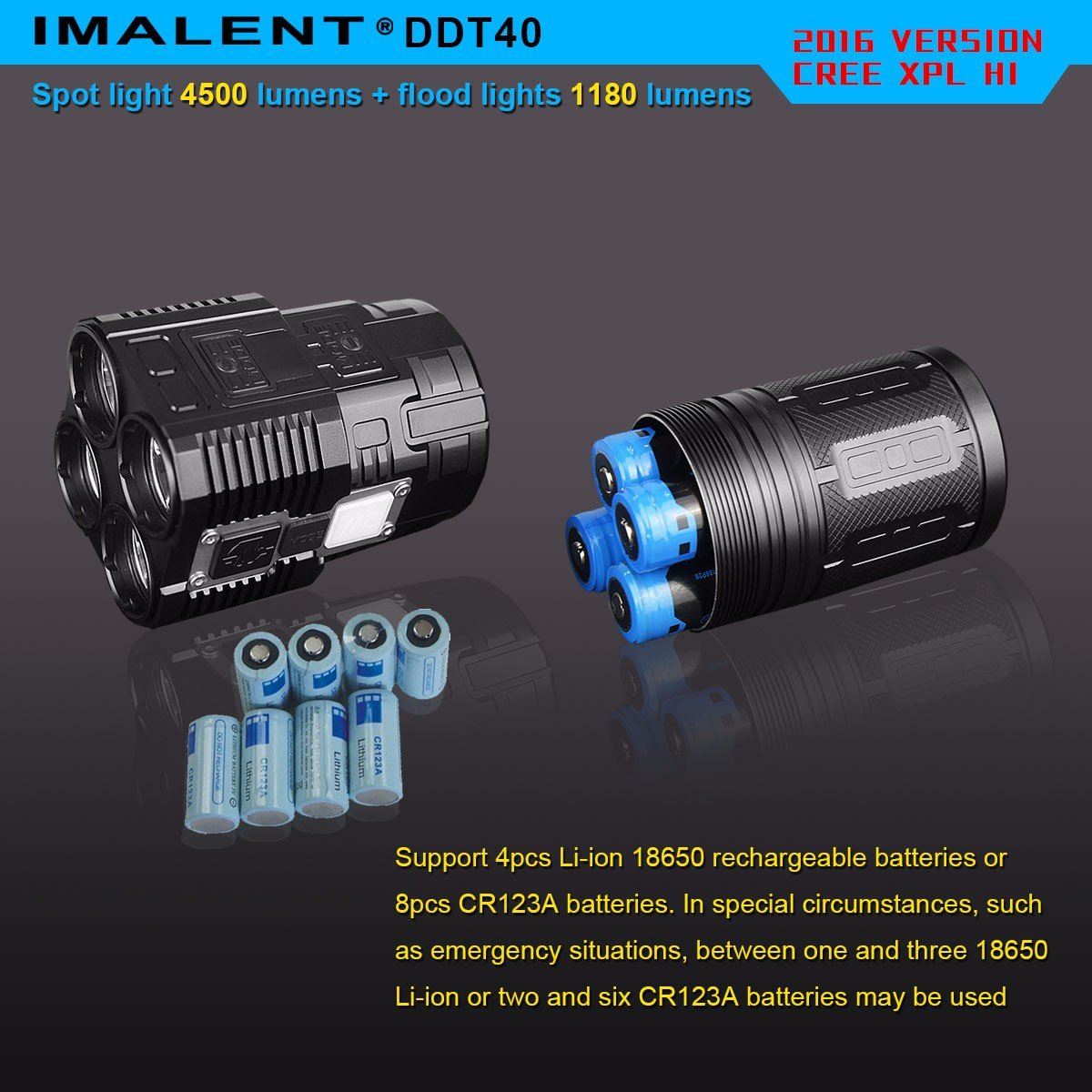IMALENT DDT40 4500 Lumens +1180 Lumens Handheld LED Flashlight Powered Tactical Flashlight for Camping Hiking (The item can be delivered within 10 days) by IMALENT (Image #4)