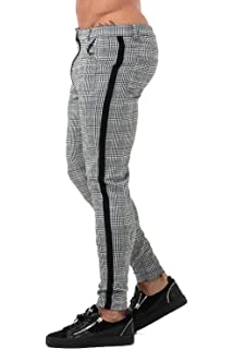 a0953e25e GINGTTO Mens Chinos Slim Fit Stretch Flat-Front Skinny Dress Pants Grey  Plaid