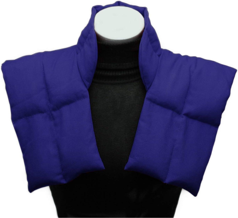 Cojin termico Grande Tipo Collarín Para Cuello y Hombros - Bolsa Térmica - Paquete Térmico - Almohada de Granos / Varios Colores (azul)