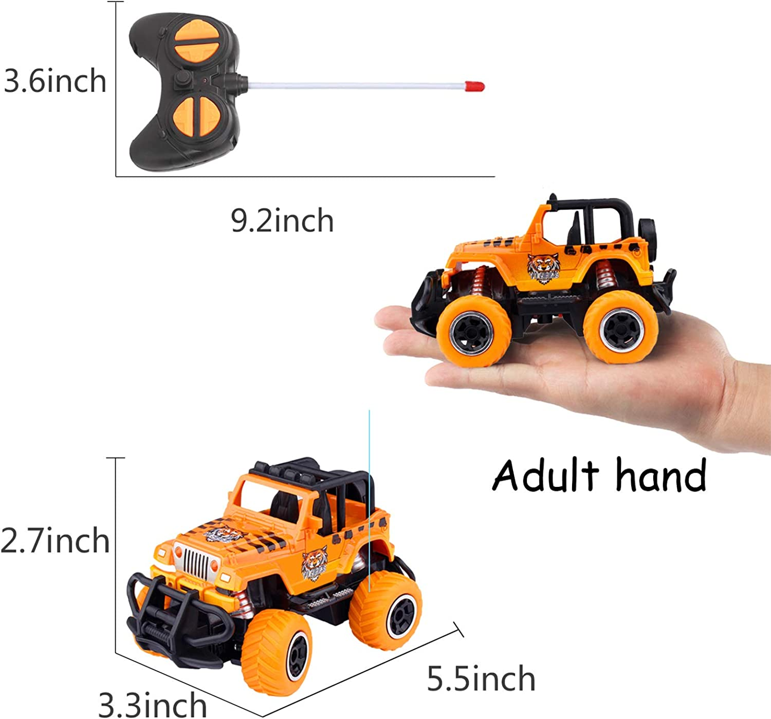 snailrun RC Car for 3-5 Year Old Boy,Electric Exquisite Off-Road Jeep Truck Pickup Remote Control Car Cool Toy for Boys Best Gifts for Kids Hobby Toy 1:43 Scale
