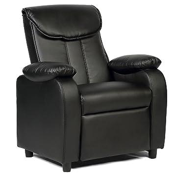 Costzon Deluxe Children Recliner Sofa Armrest Chair Living Room Bedroom  Couch Home Furniture (Deluxe Black