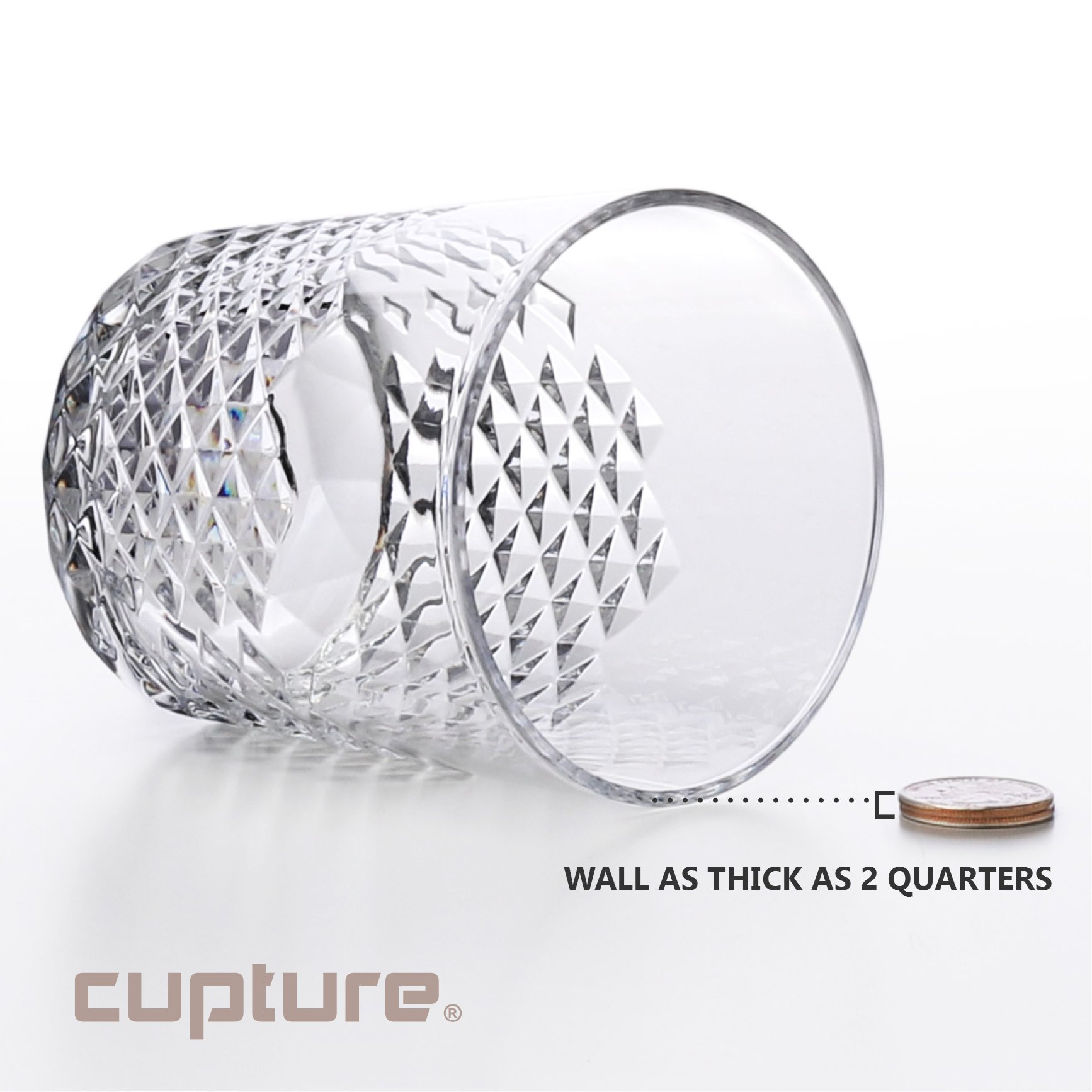Cupture Diamond Plastic Tumblers BPA Free, 24 oz / 14 oz, 8-Pack (Clear) by Cupture (Image #6)