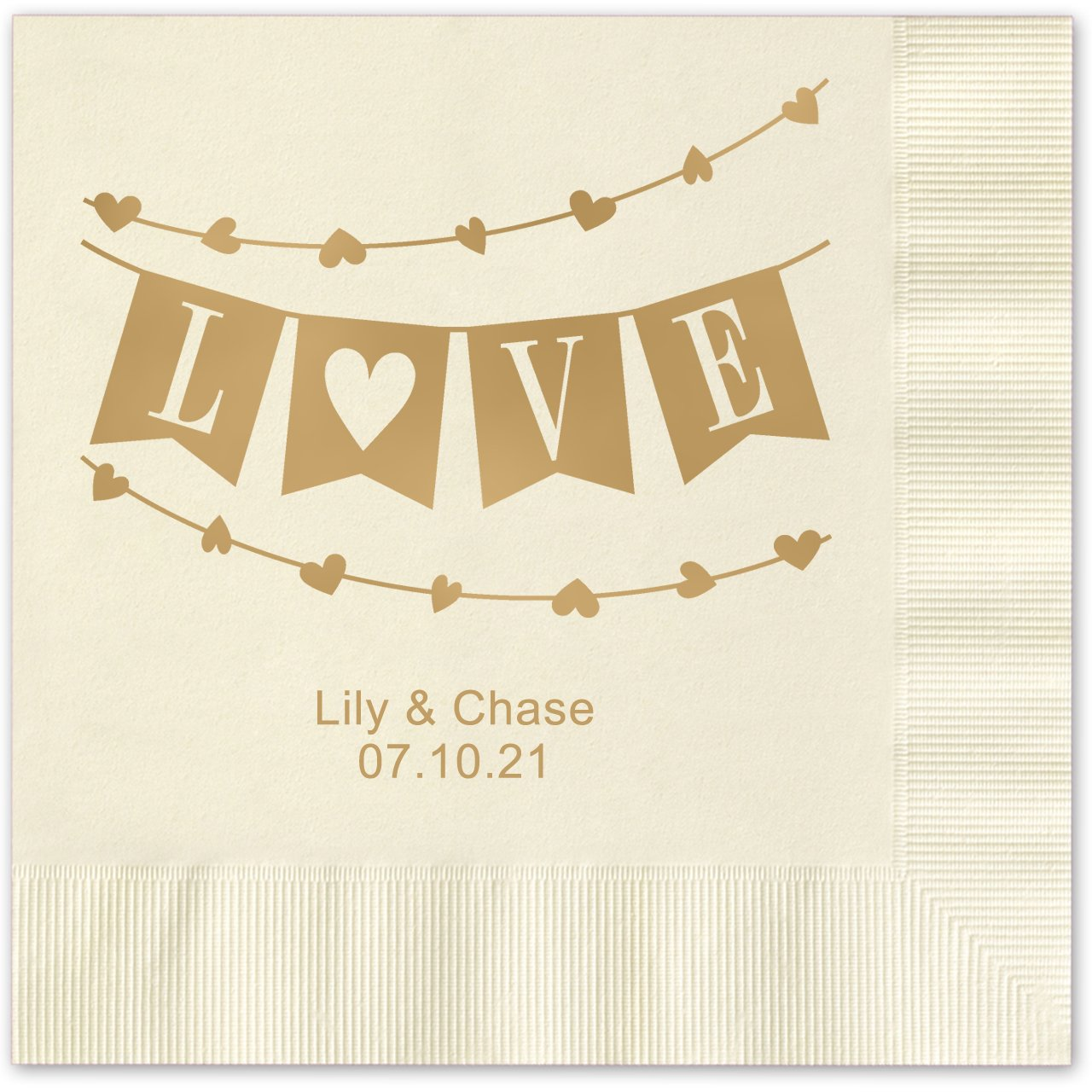Banner Love Personalized Beverage Cocktail Napkins - 100 Custom Printed Ecru Paper Napkins with choice of foil