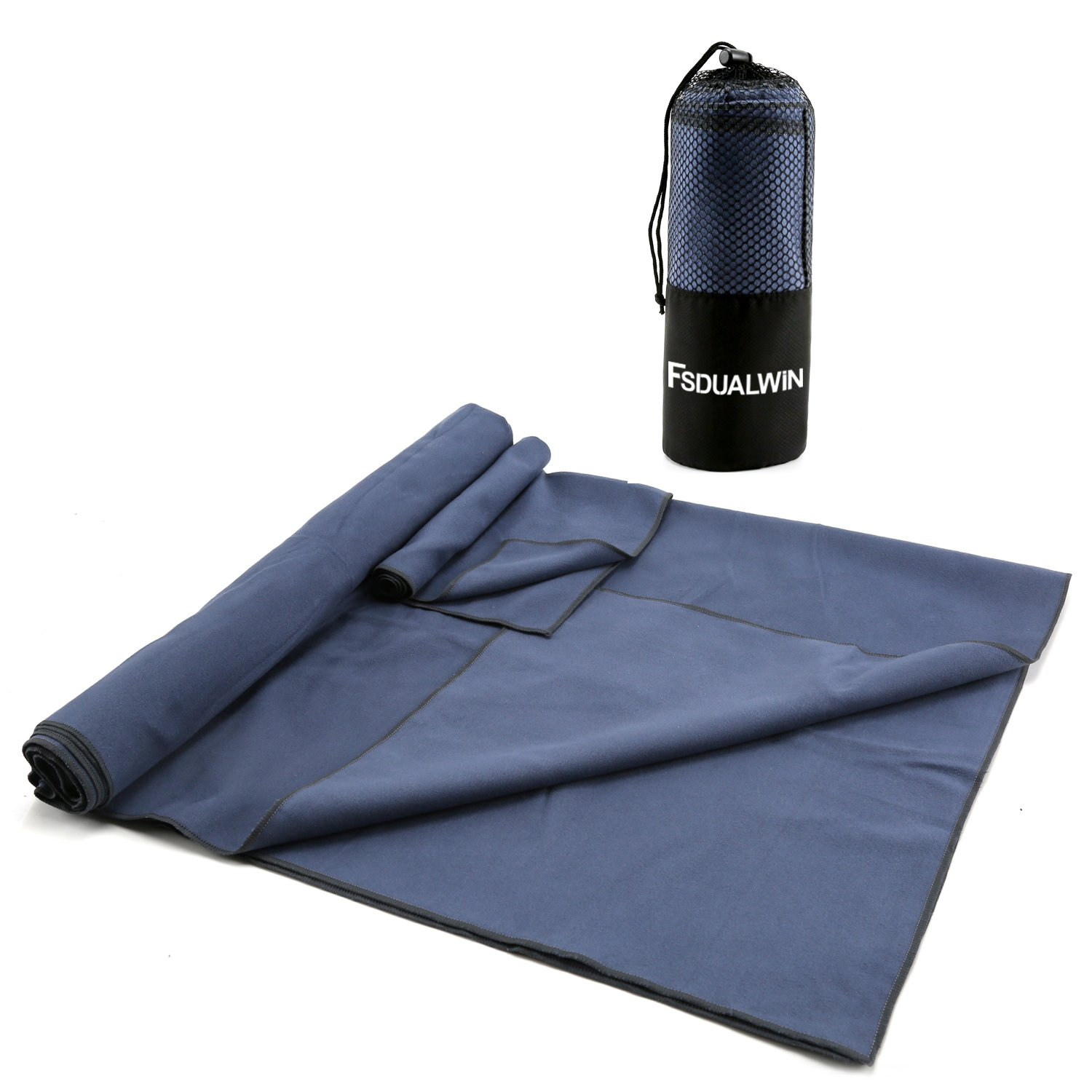 FSDUALWIN 2 Pack Microfiber Towel Set, XL Quick Drying /Absorbent/Antibacterial Swimming Towel Set (6032) with Hand/Face Towel (1414) + Mesh BAG for Travel, Beach, Swimming,Yoga or Bath.
