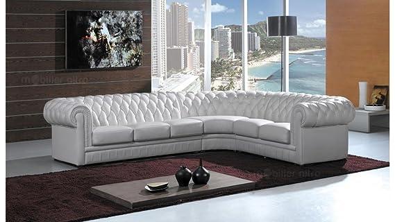 mobilier nitro Sofá de Esquina Chesterfield Blanco Piel + ...