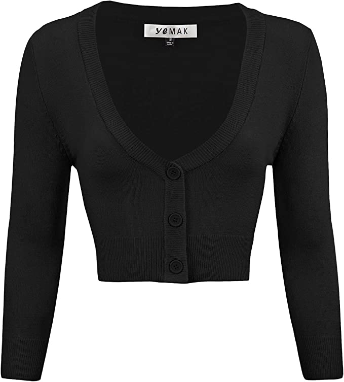 50s Shirts & Tops YEMAK Womens Cropped Bolero 3/4 Sleeve Button Down Cardigan Sweater (S-4X) $23.95 AT vintagedancer.com