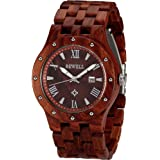 Wonbee Handmade Wooden Watches for Men 100% Natural Red Sandal Wood Men's Wristwatch With Date Create Gift for Men