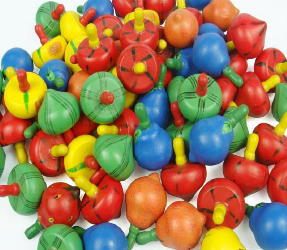 10pcs/lot Wooden Toy Cute Fruit Spinning Top Classic Toy Kids Children Game Toy by Yan Toy Gift (Image #2)