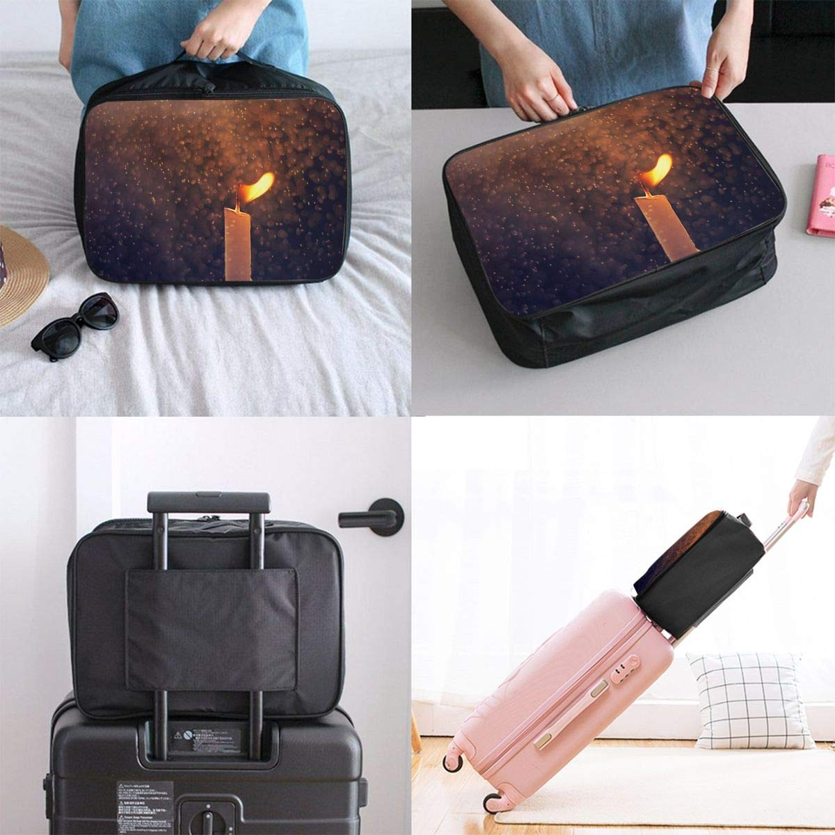 Travel Luggage Duffle Bag Lightweight Portable Handbag Candle Fire Print Large Capacity Waterproof Foldable Storage Tote