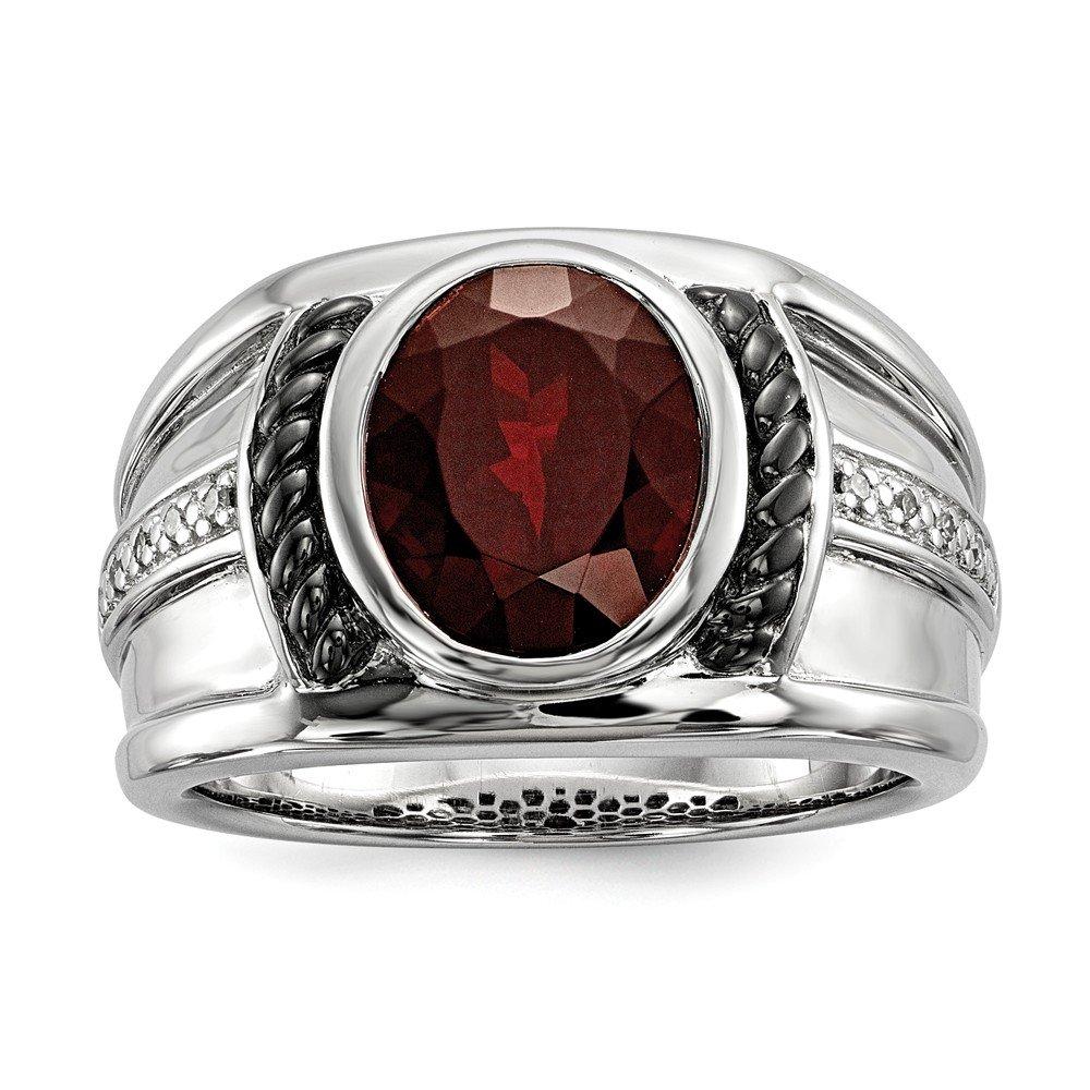 JOlivers Sterling Silver Garnet /& Diamond Oval Black Rhodium-Plated Mens Ring