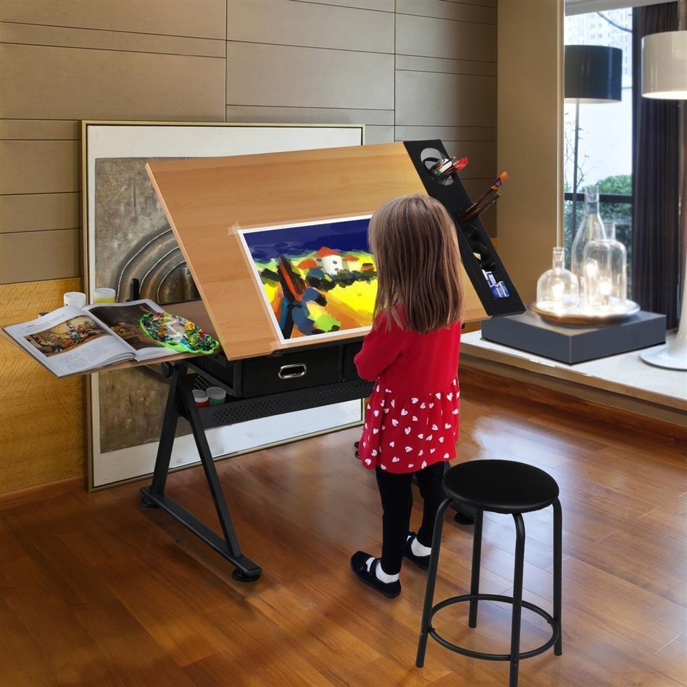 Popamazing–regolabile, inclinabile da tavolo durevole disegno tavolo scrittoio Home Office casa/ufficio W/sgabello Popamazing-regolabile