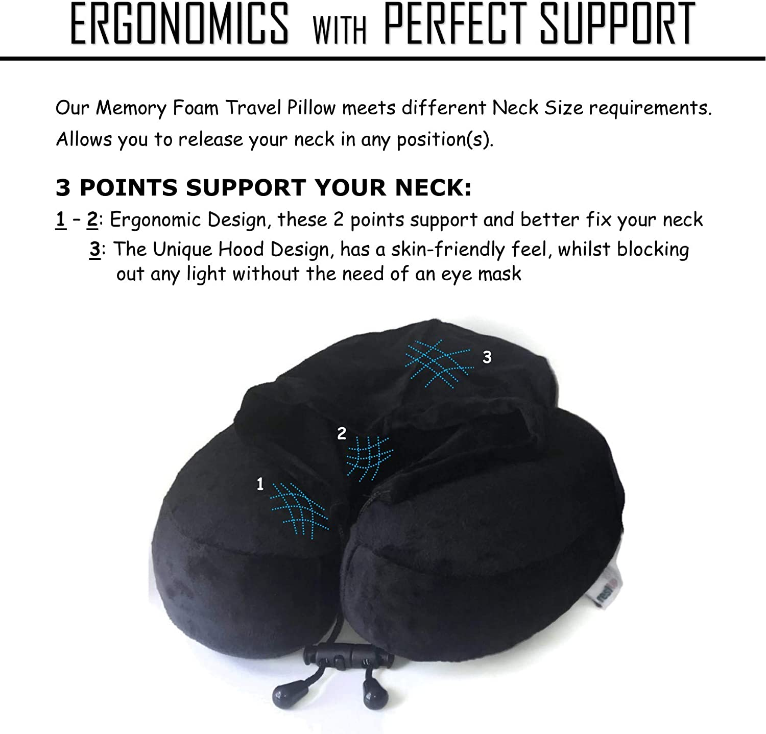 RestUp Travel Pillow | Perfect Support for Head, Chin and Neck Super Soft Velour with Memory Foam | One Size for Adults & Kids (Black) UK Company